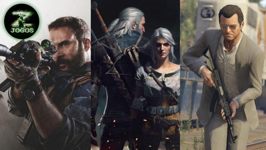 Call of Duty Morden Warfare/ The witcher 3 Gerald e Ciri / GTA V Michael / Os 12 Jogos Mais Vendidos De Todos Os Tempos